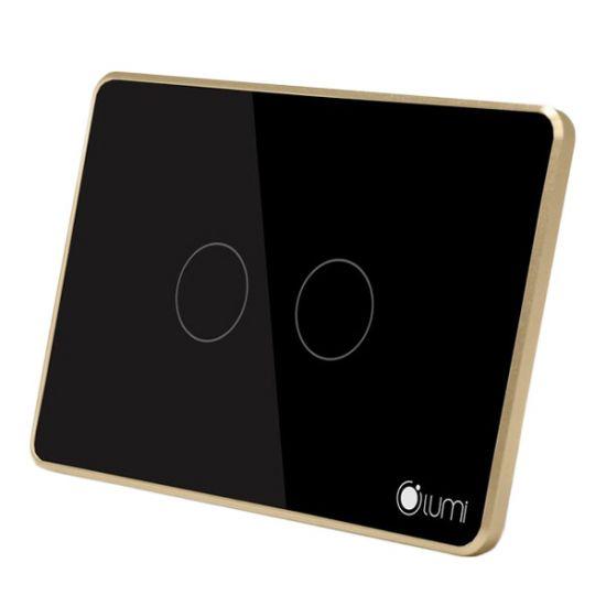 Bộ điều khiển quạt 2 nút Lumi LM-F điều khiển không dây qua điện thoại, mặt kính cường lực chống va đập